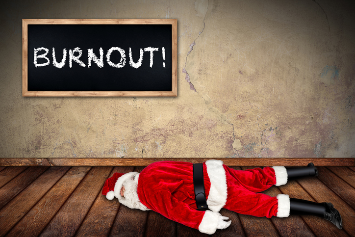 santa claus overworked burnout concept